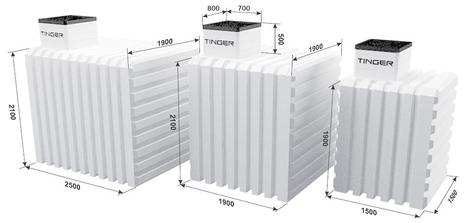 Бесшовный пластиковый погреб (кессон) ТИНГАРД средний 1900х1900х2600